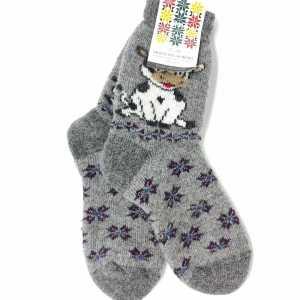 Vilnonės kojinės su balta karvute PK-5