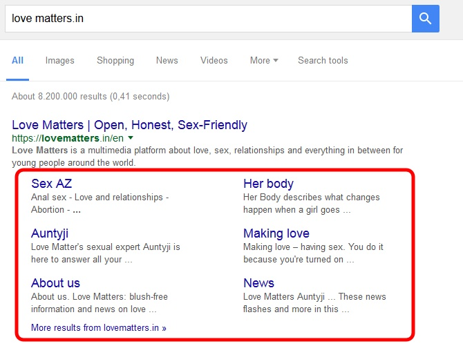 Love Matters sitelinks in SERP