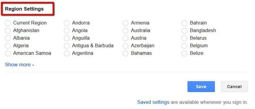 Google region settings