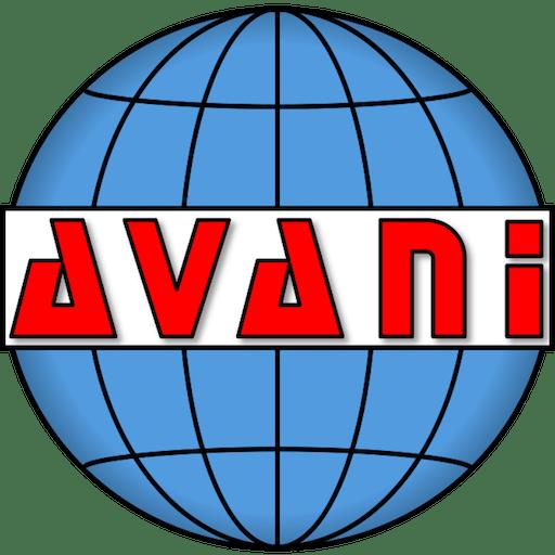 "Blue globe with ""Avani"" written across the middle"