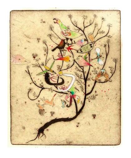 Didier HAMEY-gravure-oiseaux sur branche