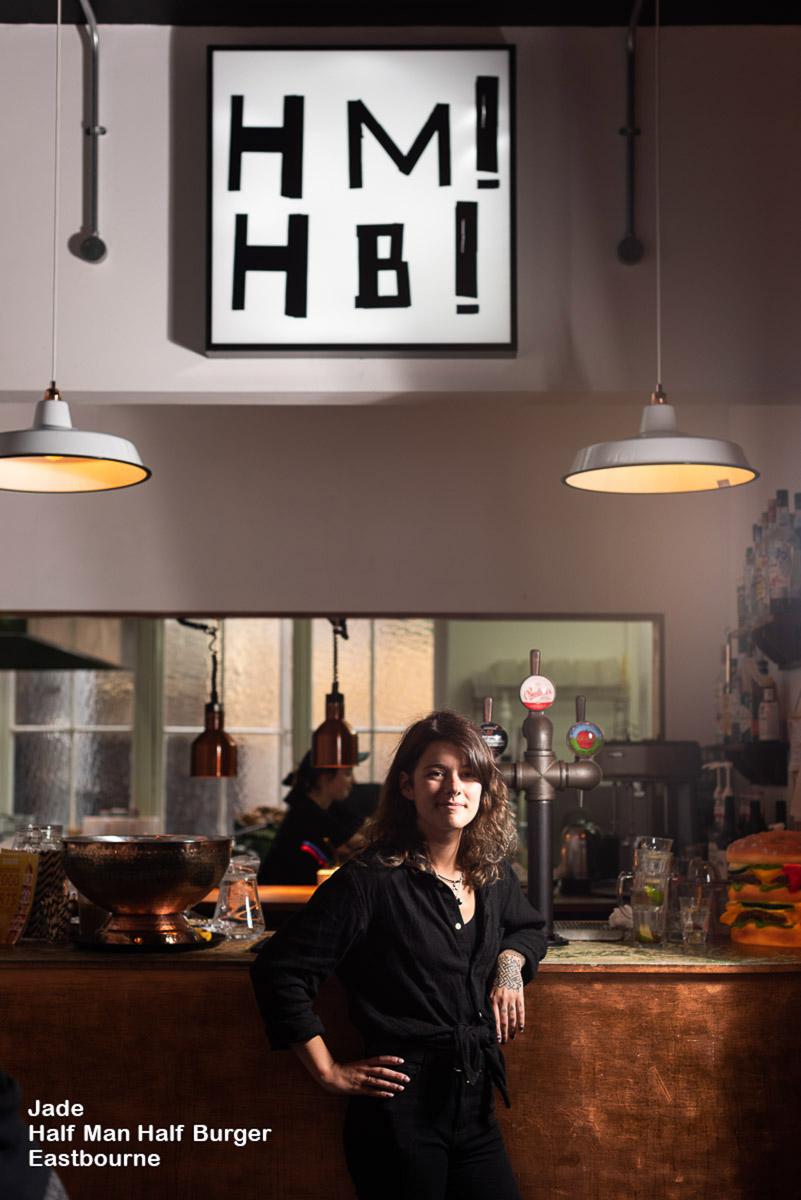 Avant Commercial portrait of waitress at half man half burger eastbourne