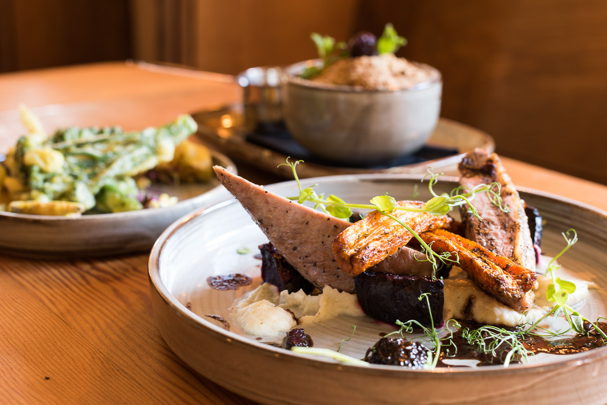 Avant Commercial food photography - Duck breast dish in sunlight at The Rainbow pub Eastbourne