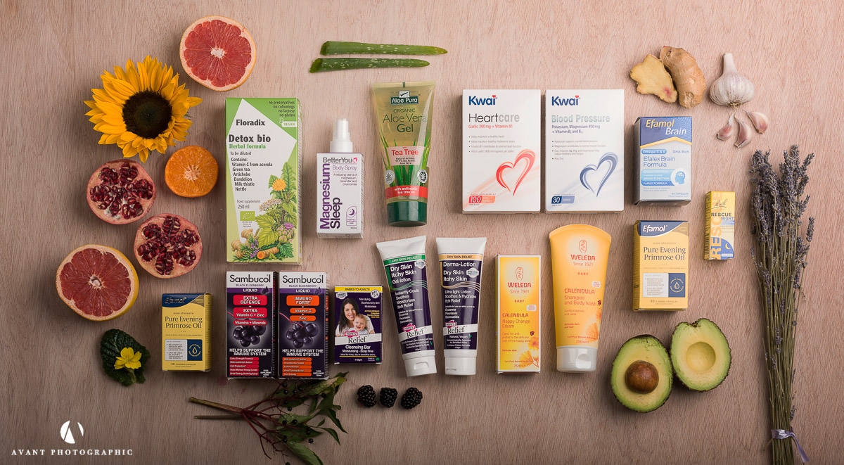 flat lay on light background of health products and health foods and natural ingredients