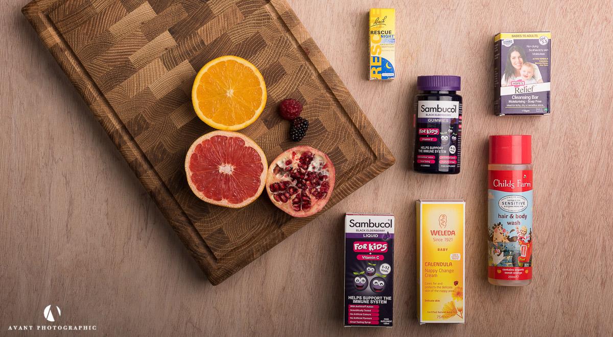 Flat Lay on light background of health food products with natural ingredients