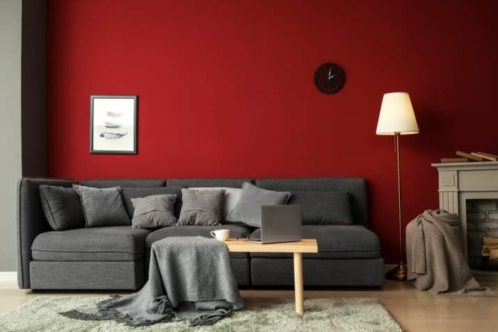Grey Living Room With Red Wall