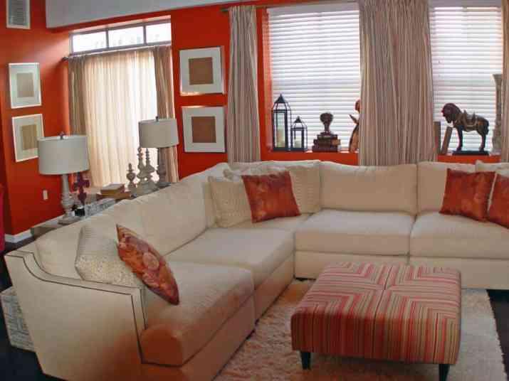 Artistic Orange Living Room