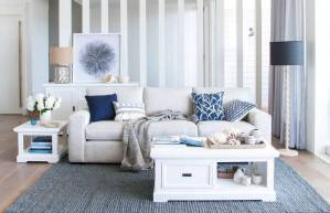 Beach-Inspired Grey and Blue Living Room