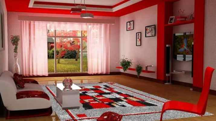 Red and White Ceiling