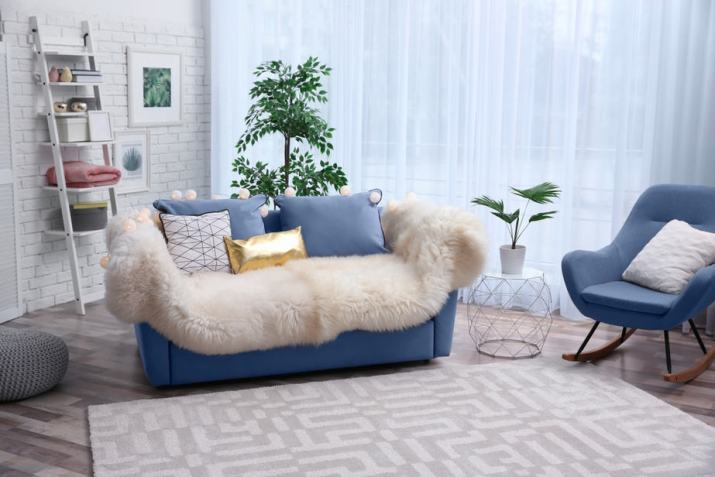 Soft Blue Couch with Furry Fabrics in Mini Area