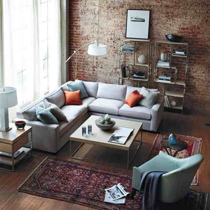 Exposed Red Bricks in Relieved Living Room
