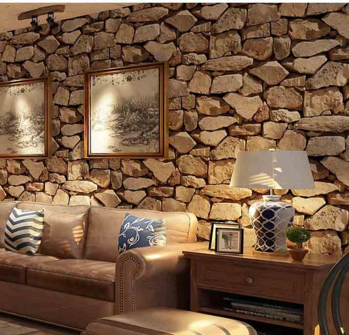 Stone Accent Wall in A Living Area