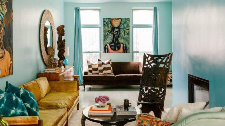 Aesthetic Brown and Turquoise Living Room