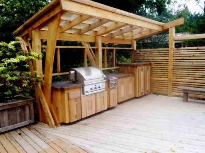 Creative Wood Outdoor Kitchen
