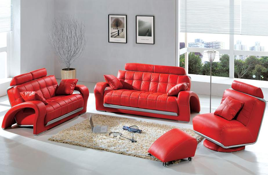 Sleek Red Couch Set with Cute Ottoman