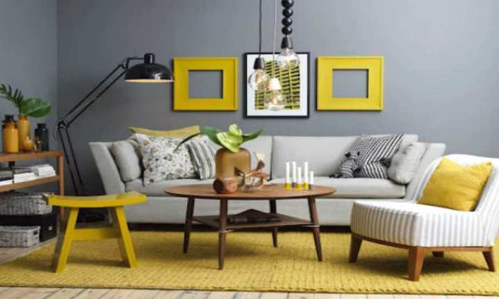 Cute Grey and Yellow Living Room