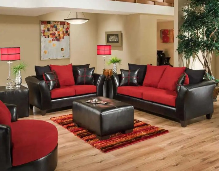 Elegant Red and Black Living Room