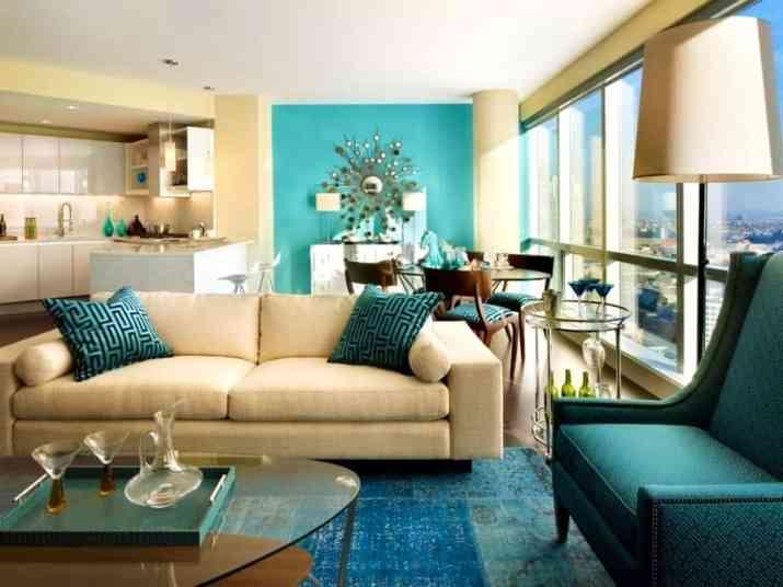 Enjoyable Brown and Turquoise Living Room