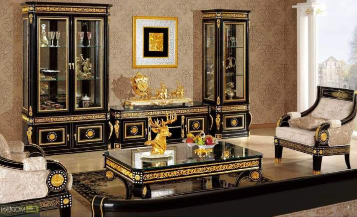 Glowing Black and Gold Living Room