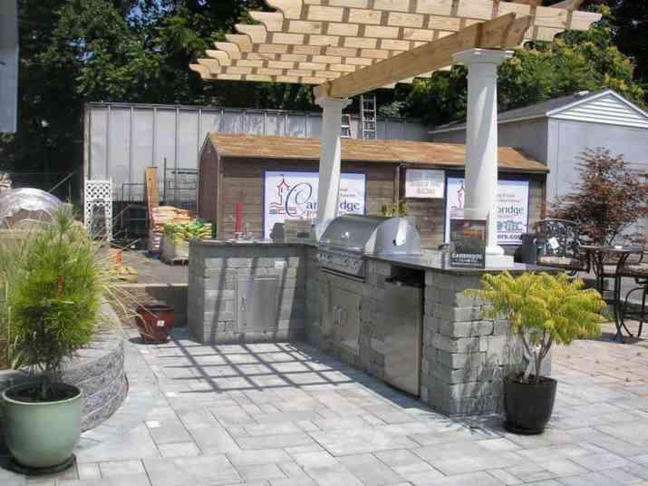 Gray Outdoor Kitchen Deck