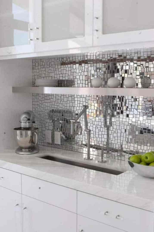 Top Mirrored Kitchen Backsplash