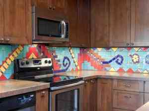 Modern Mural Southwest Kitchen Backsplash
