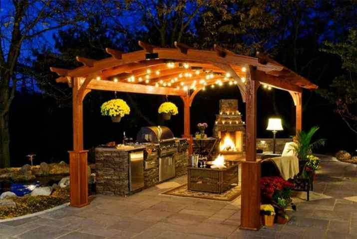Romantic Outdoor Kitchen Lighting