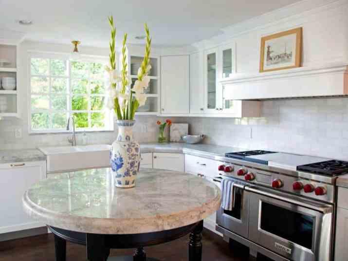 Round Kitchen Island with Marble