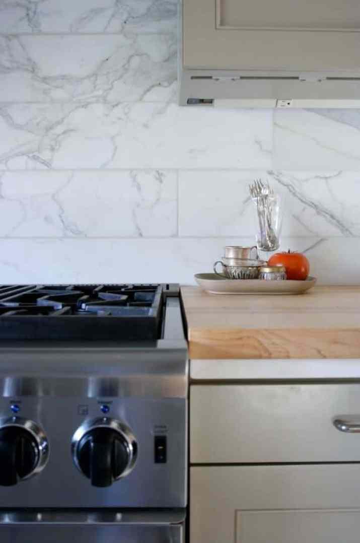 Subway-Styled, Marble Kitchen Backsplash