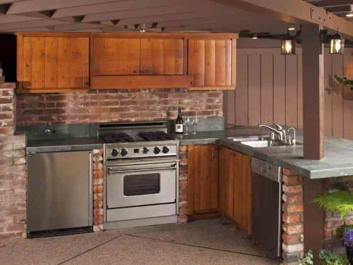 Outdoor Kitchen with Wooden Boards Cabinet