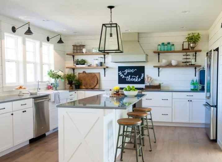 Clean White Farmhouse Kitchen with Open Shelving