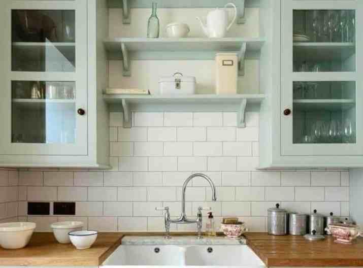 Double Farmhouse Kitchen Cabinet with Bridge
