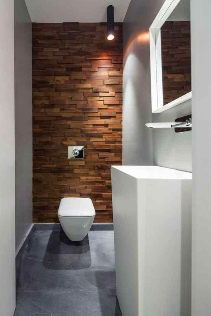 Wooden Bathroom Accent Wall