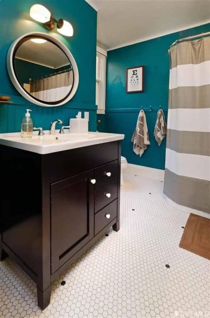 Colored Bathroom Baseboard