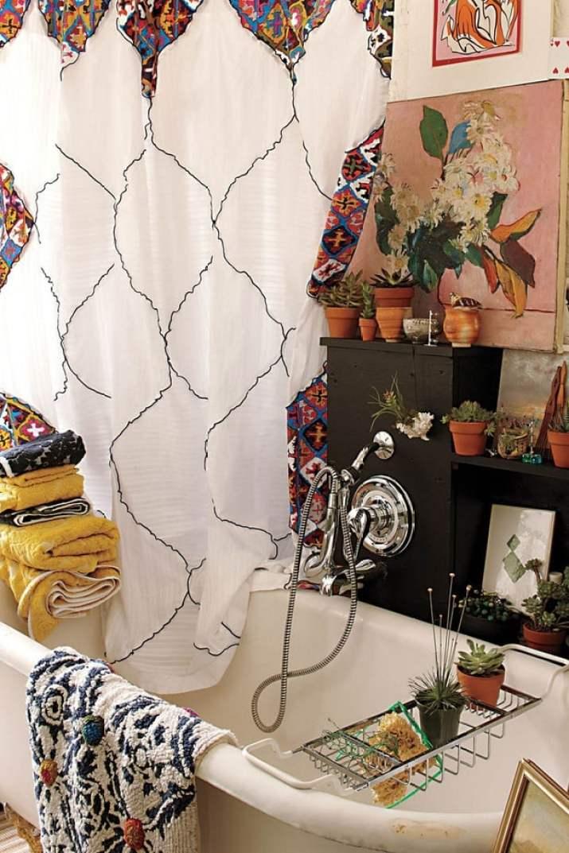 Patchwork Curtain for Boho Bathroom