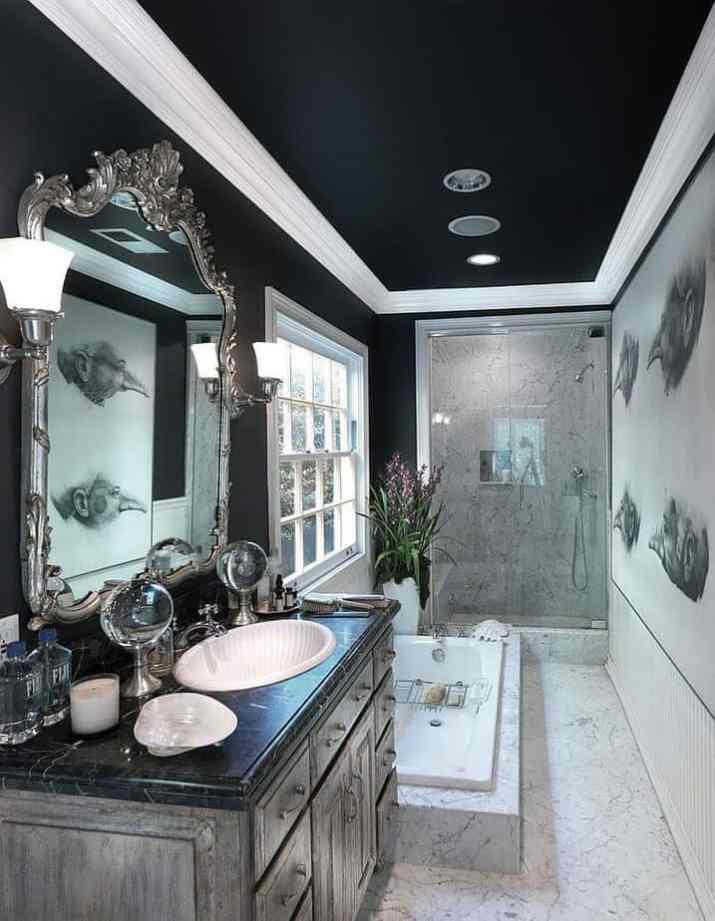 Bathroom Ceiling with Complex Border Design