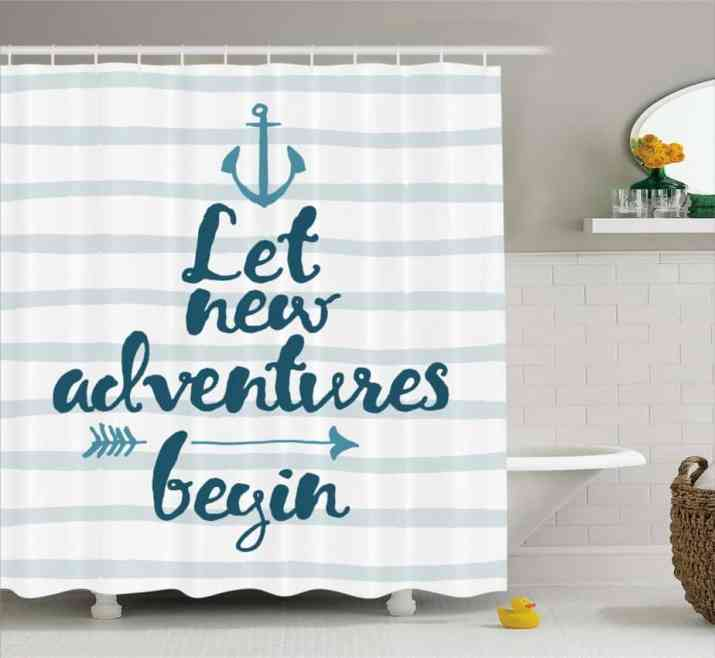 Curtain with Quotes for Anchor Bathroom