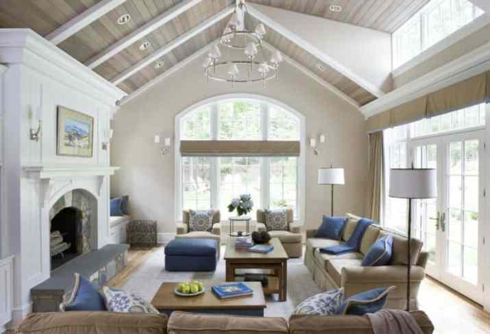 white Vaulted Ceiling Living Room Ideas