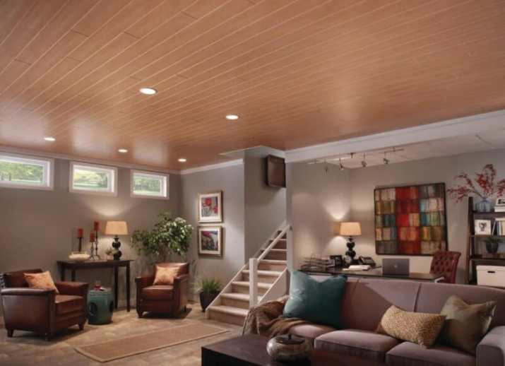 Wood Ceiling Ideas for Basement with light shades
