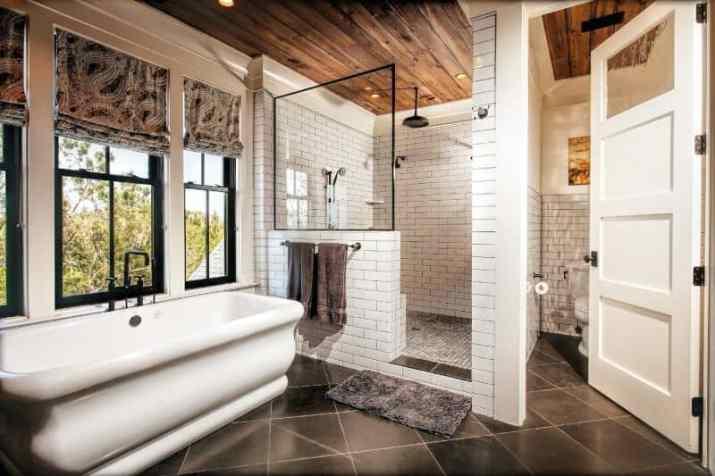 warm Wood Ceiling Ideas for Bathroom