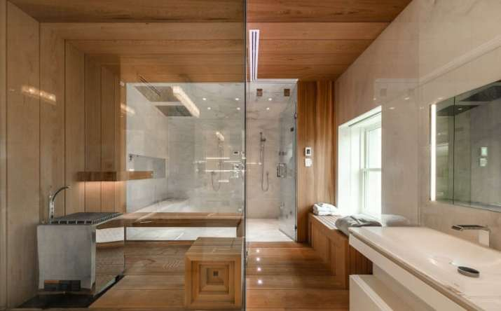 Wood Ceiling Ideas for Bathroom with light color