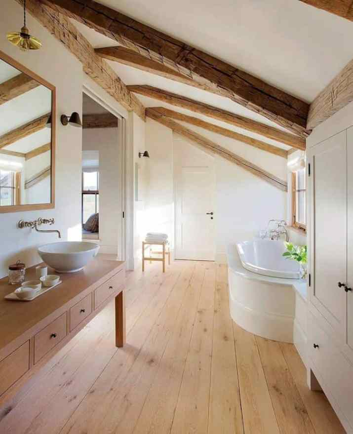 Wood Ceiling Ideas for Bathroom with wooden planks