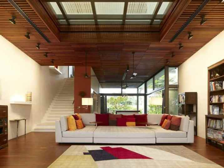 Wood Ceiling Ideas for Living Room with dramatic lamps
