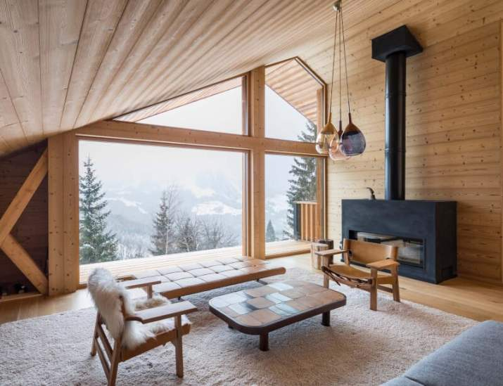 Cabin Wood Ceiling Ideas with large window
