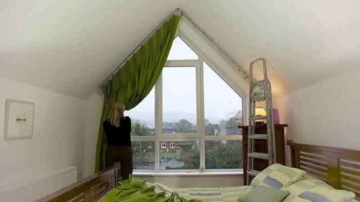 unique shape of Vaulted Ceiling Curtain Ideas