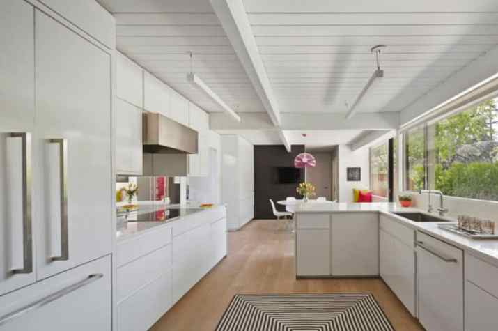 White Wood Ceiling Ideas with modern cabinet