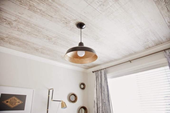White Wood Ceiling Ideas with adorable lamp
