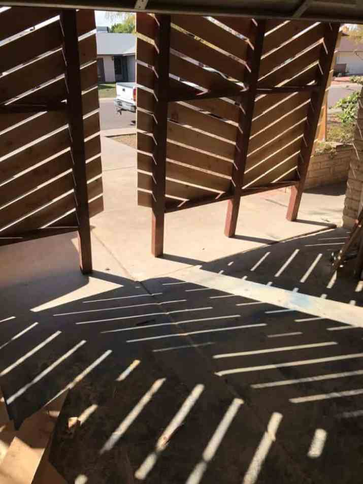 Wood Privacy Screen with Chevron Pattern