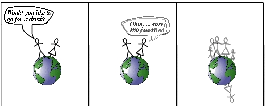 Second version of quantum cartoon in which the two versions of reality are superposed