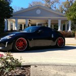Nissan Z34 370z Black Ag Agwheels F211 Brushed Candy Apple Red With Chrome Lip 3